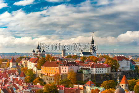 aerial view old town tallinn estonia
