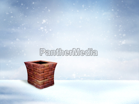 winter roof with chimney