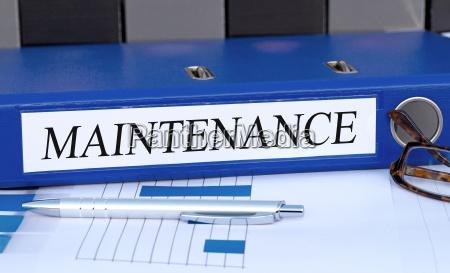 maintenance blue binder in the