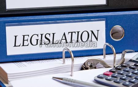 legislation blue binder with text