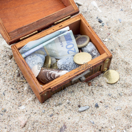 wooden box with euro notes and