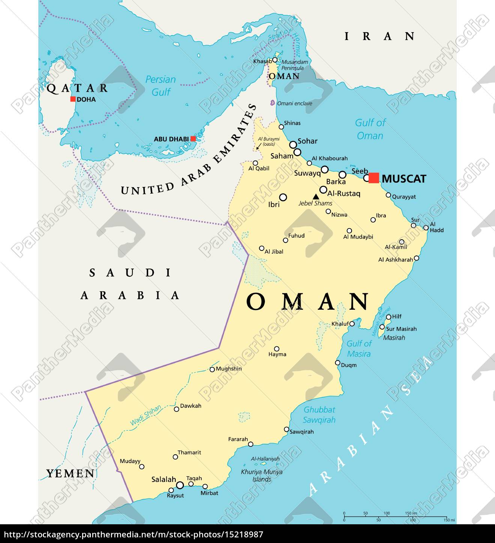 Karte Oman.Lizenzfreie Vektorgrafik 15218987 Oman Politische Karte
