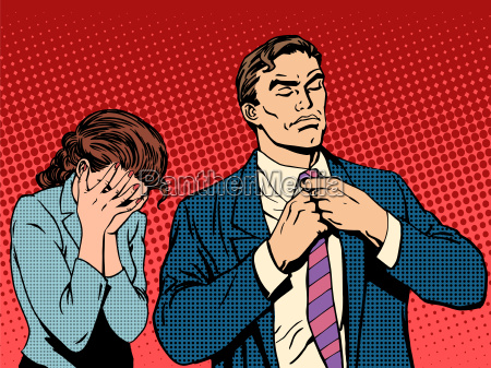 family quarrel man leaves woman cries