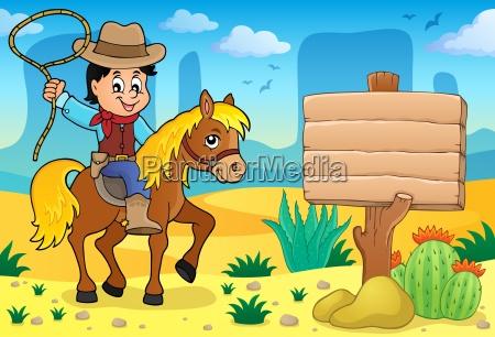 cowboy auf dem pferd thema bild