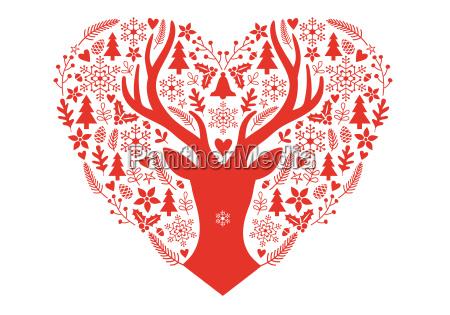 weihnachtskarte mit rotem herz