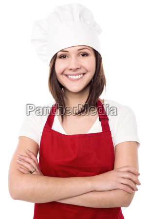 cute and confident female chef