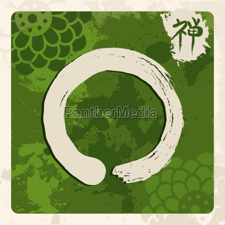 green zen circle illustration traditional enso