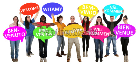 refugees welcome different languages multicultural group