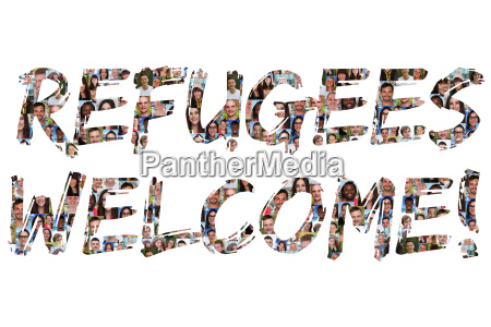 refugees welcome refugees welcome multicultural group