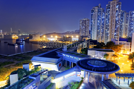 hong kong public estate at night