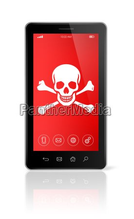 smartphone mit einem piratensymbol auf dem