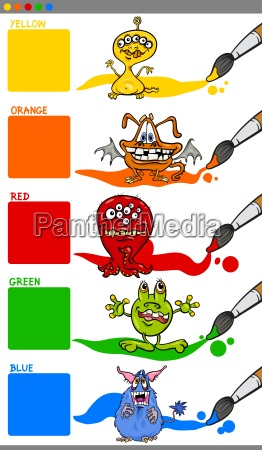 main colors with cartoon monsters
