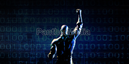 man pumping fist on technology background
