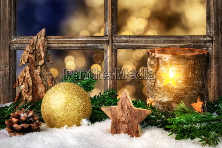 cozy seasonal decoration on the window