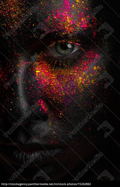 kreative, kunst, schwarz, make-up, mit, hellen - 15262863