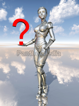 female robot with question marks