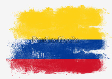 flagge kolumbiens mit pinsel bemalt
