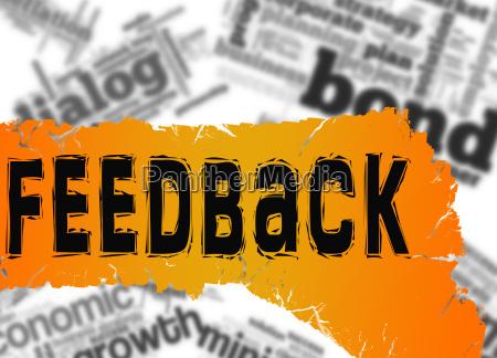 word cloud with feedback word on