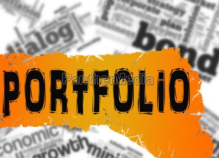 word cloud with portfolio word on