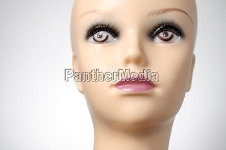 weiblich closeup nahaufnahme gesicht puppe schaufensterpuppe
