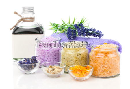 flowers and lavender bath salt on