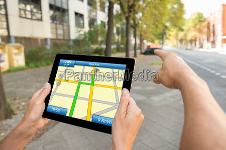 two people hands using gps map