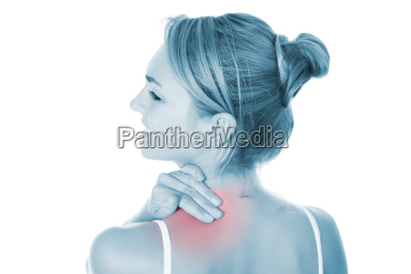 woman suffering from shoulder pain over