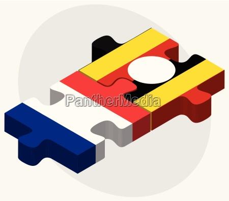 frankreich und uganda flaggen