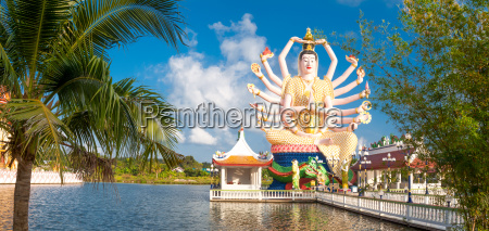 panoramablick auf die guanyin statue im