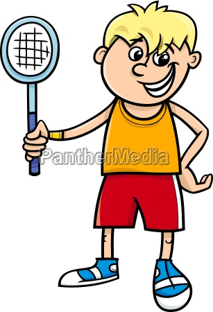 boy with tennis racket cartoon