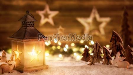 christmas scene wooden lantern light