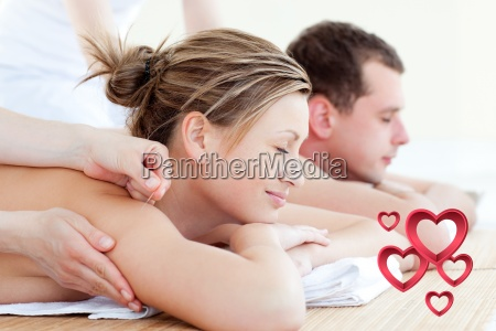 composite image of loving couple having