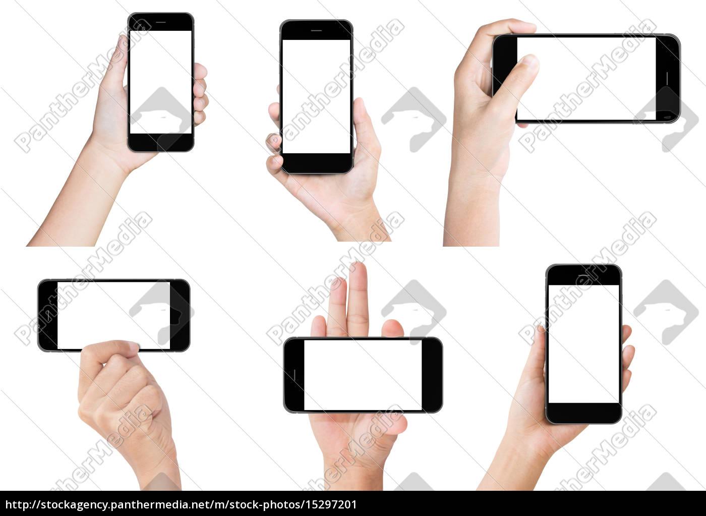 hand, halten, weißen, modernen, smartphone, show - 15297201