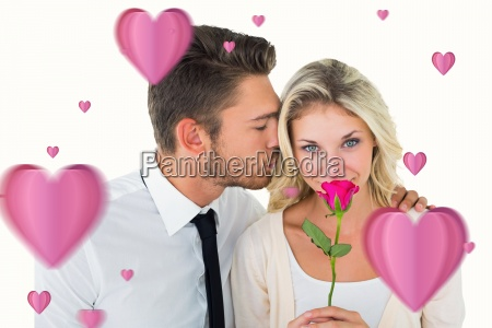 composite image of handsome man kissing