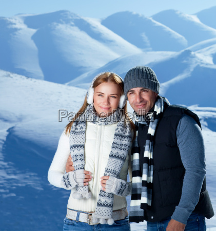 happy couple on winter holidays