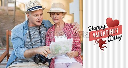 composite image of happy tourist couple