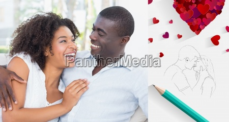 composite image of attractive couple cuddling