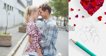 composite image of couple in check