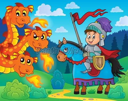 ritter auf pferd und drachen lauern