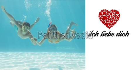 composite image of cute couple underwater