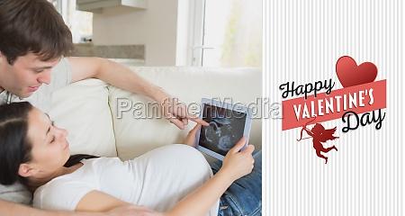 composite image of prospective parents looking