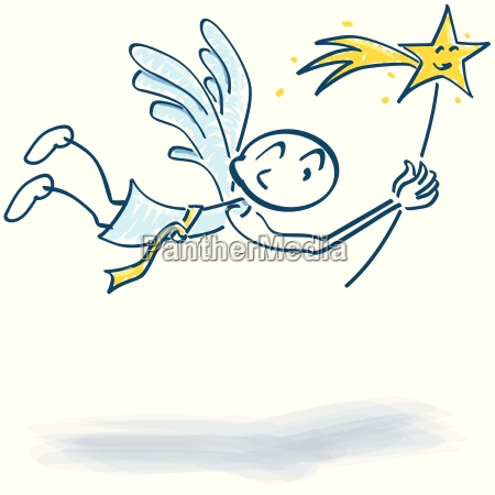 strichmaennchen fliegendes engelchen mit sternchen