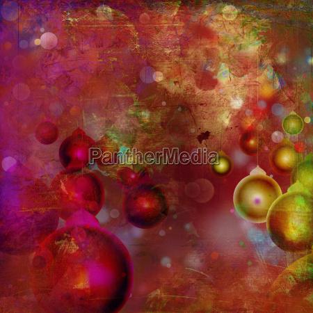 weihnachtskarte kugeln bunt malerei