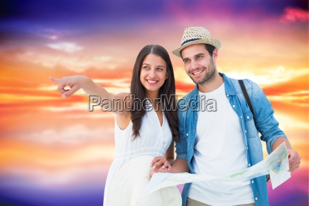 composite image of happy hipster couple