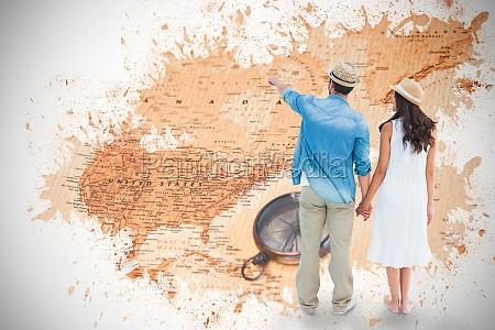 immagine composita di coppia felice pantaloni
