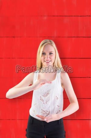 composite image of pretty young blonde
