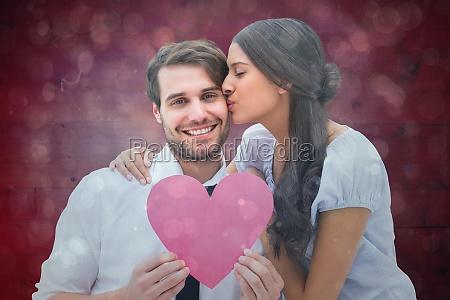 composite image of pretty brunette giving