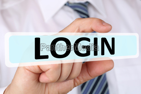 business man concept with login login