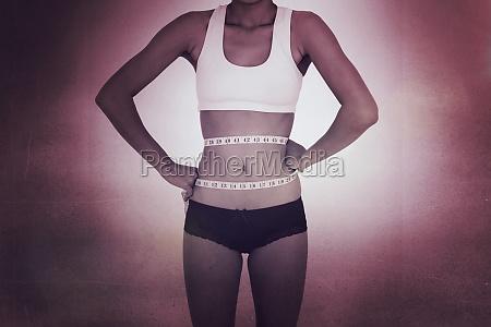 composite image of surprised slim woman