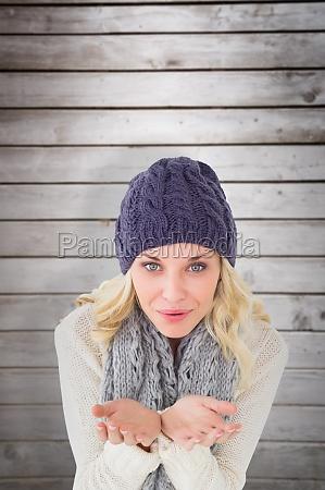 composite image of pretty blonde in
